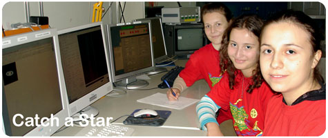 Catch a Star winners at 3.5 m telescope control room
